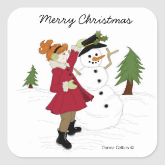 Snowman  with little girl square sticker