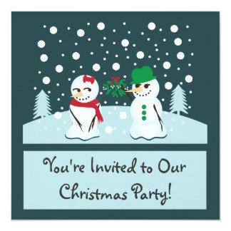 Snowman with Mistletoe Christmas Party Card