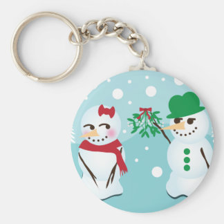 Snowman with Mistletoe Wanting a Kiss Key Ring