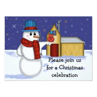Snowman with Red Bird Folk Art Drawing 14 Cm X 19 Cm Invitation Card