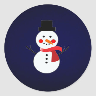 Snowman with red scarf-solid blue background classic round sticker