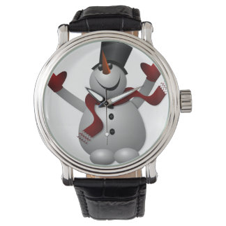 Snowman with Red Scarf Vintage Leather Strap Black Watch