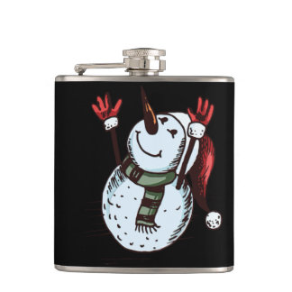 Snowman With Santa Hat - Carrot Nose - Green Scarf Hip Flask