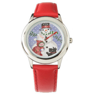 Snowman with Scottie Watch