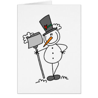 Snowman with Shovel Card