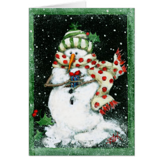 Snowman with Small Package Greeting Card