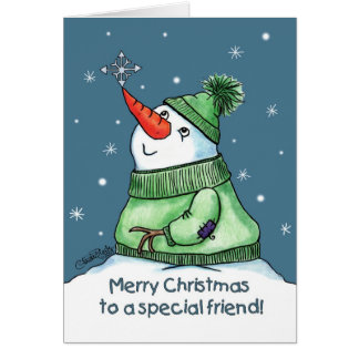 Snowman with Snowflake on Nose Card