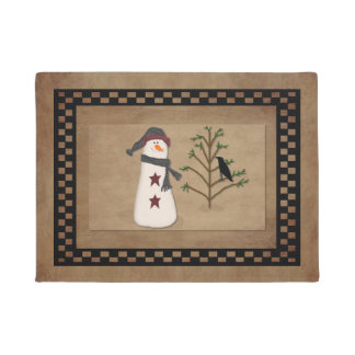 Snowman With Tree Door Mat
