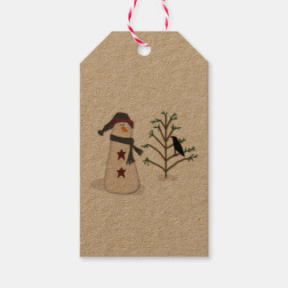 Snowman With Tree Gift Tag
