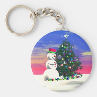 Snowman's Christmas Basic Round Button Key Ring