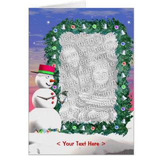 Snowman's Christmas (photo frame) (tall) Card