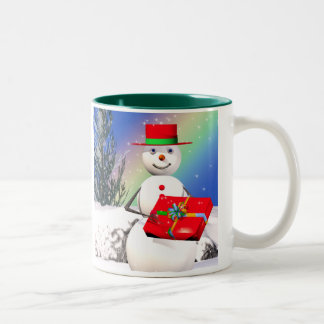 Snowmans Christmas Present Two-Tone Mug