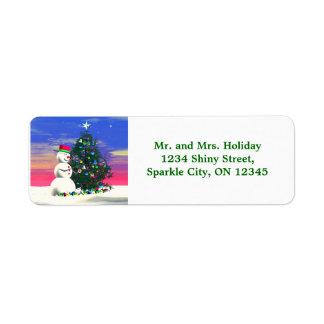 Snowmans Christmas Return Address Label