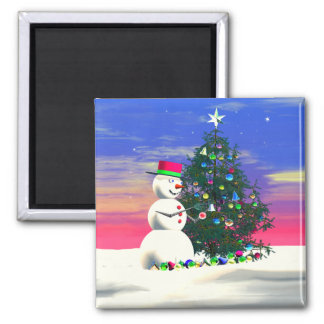 Snowman's Christmas Square Magnet