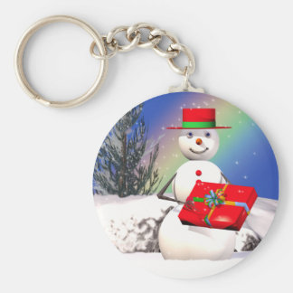 Snowman's Present Basic Round Button Key Ring