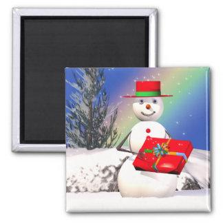 Snowman's Present Square Magnet