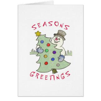 Snowmanxmastree2 Greeting Card