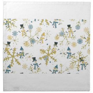 Snowmen and flakes napkin