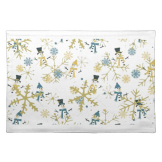 Snowmen and flakes placemat