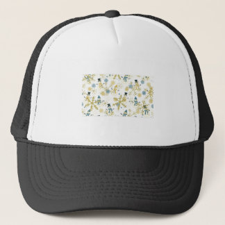 Snowmen and flakes trucker hat