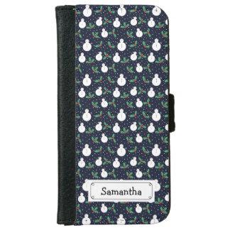 Snowmen and mistletoe pattern iPhone 6 wallet case