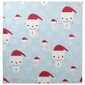 Snowmen and snowflakes napkin