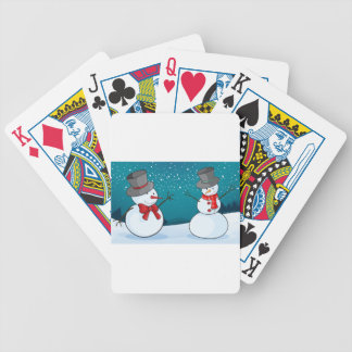 snowmen bicycle playing cards