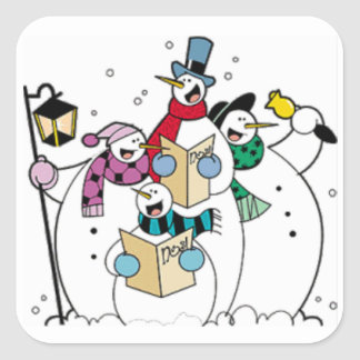 Snowmen Carol Singing Square Sticker