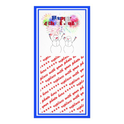 Snowmen Celebrating the 4th of July Photo Greeting Card