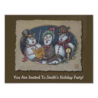 Snowmen Christmas Carolers 11 Cm X 14 Cm Invitation Card
