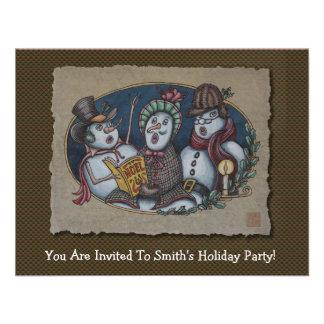 Snowmen Christmas Carolers Custom Invitations