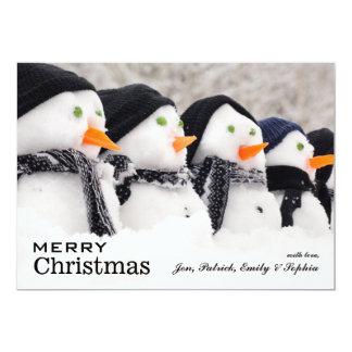 Snowmen Close Up In A Row 13 Cm X 18 Cm Invitation Card