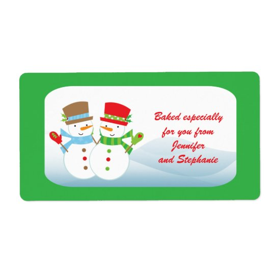 Snowmen customisable baked goods gift tag label shipping label