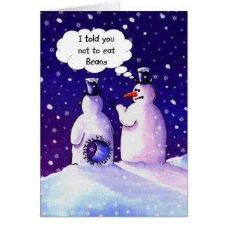 Snowmen, Don't eat beans!!!! Card