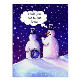 Snowmen, Don't eat beans!!!! Postcard