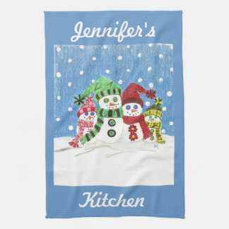 Snowmen family kitchen towel