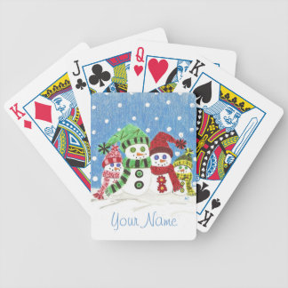 Snowmen family playing cards .