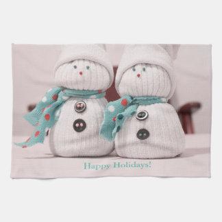 Snowmen in Socks Tea Towel