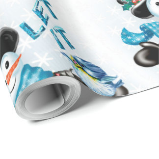 SNOWMEN LET IT SNOW CARTOON Glossy Wrapping Paper