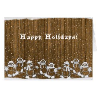 Snowmen On Fence Greeting Card
