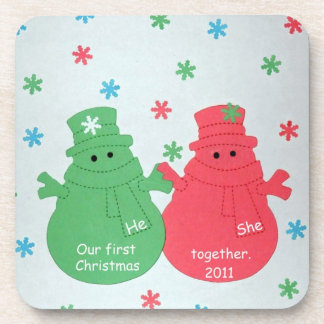 Snowmen: Our First Christmas Together 2011 Drink Coaster
