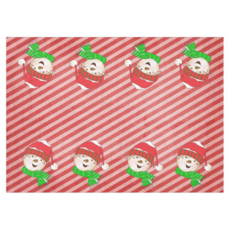 Snowmen Red and Pink Diagonal Stripe Tablecloth