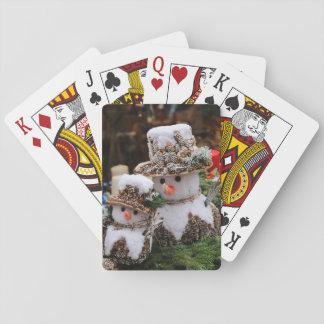 Snowmen Wearing Pinecone Hat Playing Cards