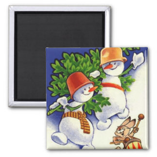 Snowmen With Christmas Tree Magnets