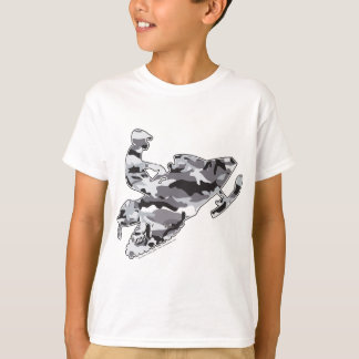 Snowmobiler in Grey Camo T-Shirt