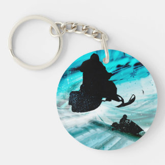Snowmobiling on Icy Trails Key Ring