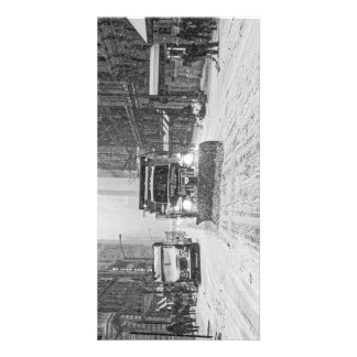 Snowplow on a snowy street personalized photo card