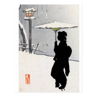Snowscape and Japanese Geisha Postcard