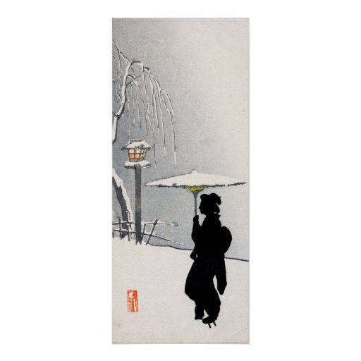 Snowscape and Japanese Geisha Posters