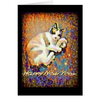 Snowshoe Happy New Year's 2017 Kitty Card